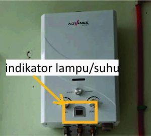 indikator suhu water heater gas tidak menyala